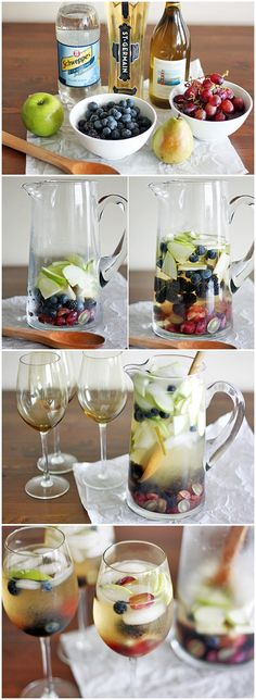 White wine and elderflower liqueur sangria. Germain, an elderflower liqueur. Light, refreshing and delicious! Party Drinks, Fun Drinks, Alcoholic Drinks, Beverages, Wine Cocktails, Cocktail Drinks, St Germain Cocktail, White Wine Sangria, White Wines