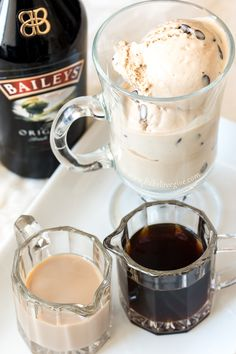 Bailey's Irish Affogato by bake. Affogato translates to drowned in Italian. This silky, smooth drink is achieved by pouring hot espresso over ice cream in coffee. Add a shot of Baileys for a sophisticated take on an adult beverage. Baileys Ice Cream, Baileys Irish Cream Coffee, Irish Coffee Mugs, Coffee Cafe, Coffee Truck, Starbucks Coffee, Coffee Cream, Baileys And Coffee Recipe, Irish Cream Drinks