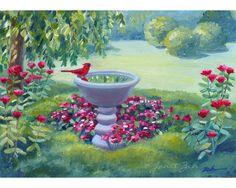 Cardinal Original Oil Painting Garden Bird Bath Handmade Art Janet Zeh 5x7