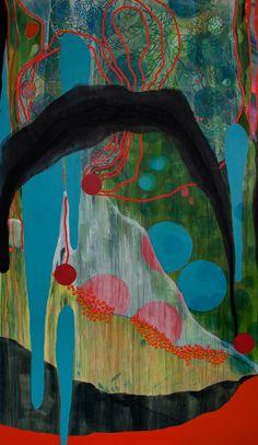 "Saatchi Online Artist: Virginie Gallois; Mixed Media 2013 Painting ""Nature au serpent"""