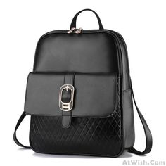 Wow~ Awesome Simple Leisure Solid Diamond Grid Hasp School Travel Backpack! It only $38.99 at www.AtWish.com! I like it so much<3<3!