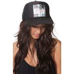Junior Rip Curl 'Magic Hour' Trucker Hat (£16) ❤ liked on Polyvore featuring accessories, hats, black, wool hat, snapback hats, black hat, adjustable hats and fitted trucker hats