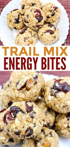 These trail mix no-bake energy bites are so easy to make and a much better snack option than overly processed, packaged snacks! These trail mix no-bake energy bites are so easy to make and a much better snack option than overly processed, packaged snacks! Healthy Homemade Snacks, Quick Snacks, Healthy Packaged Snacks, No Bake Snacks, Trail Mix Recipes, Snack Recipes, Snacks Ideas, Keto Recipes, Healthy Recipes
