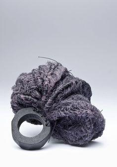 Fiber Jewellery - sculptural textile ring; jewelry art