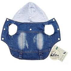 Amazon.com : OSPet Pet Vests Dog Denim Hoodies Dog Clothes Puppy Jacket Dog Outfit for Small Dogs XS : Pet Supplies