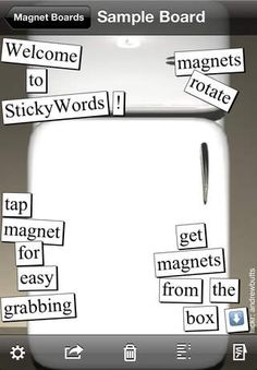 Daniel Avery | Entertainment | iPhone | StickyWords $0.00 | ver.1.1| $0.99 | Poetry with magnets and YOUR photos!Make your own poetry creations by sliding words across the screen!* Create fun captions for your photos with ...
