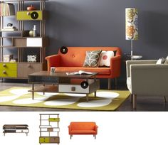 green & orange accents in the living room