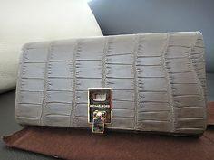 dbd3471e92f8 Michael Kors Collection Miranda Nile Crocodile Continental Wallet Elephant  NEW