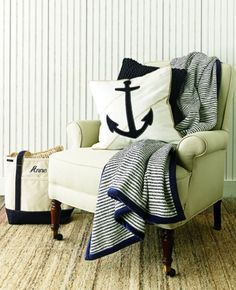 nautical colours. anchor. blanket.