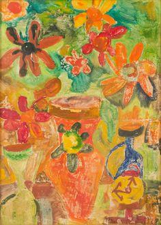 """MAURILIO CATALANO (Palermo 1942) OLIO su masonite """"vaso con fiori""""."""