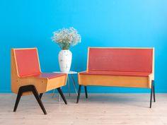 50er Jahre Küchenbank Set, Bank, Küchenstuhl // 50s vintage kitchen stool and bench by MID CENTURY FRIENDS via DaWanda.com