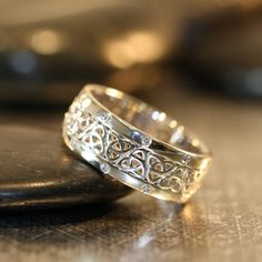 Celtic Diamond Ring 14k White Gold 7mm Trinity by LaMoreDesign