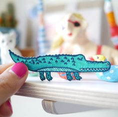 Large Crocodile Patch is roughly 3 x 9 cm It is super cool and colorful!  When dispatched, the patch will be secured with cardboard and wrapped in