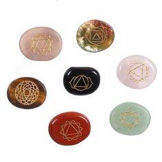 Assorted 7 Piece 7 Reiki Chakra Healing Balance Engraved Natural Palm Stones