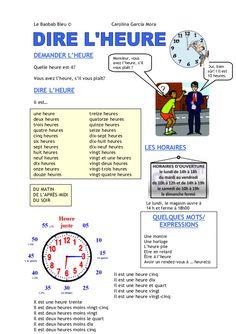 Lexique pour indiquer l'heure en français (a1)