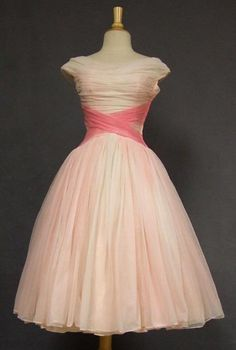 1950s Prom Dress with a lovely crossover sash made from tulle.