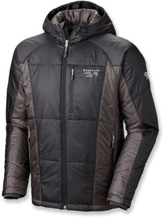 The synthetic-insulated Mountain Hardwear Hooded Compressor jacket for men is perfect on its own for cold belays, or under your shell jacket in really cold conditions. #REIGifts