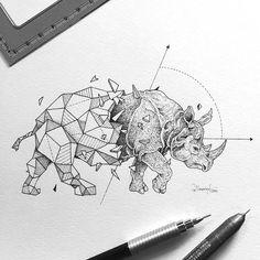 Kerby Rosanes - Half-geometrical drawings - Rhinoceros