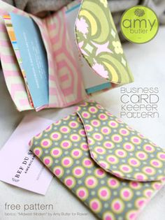 A pattern for a business card keeper, by Amy Butler (http://amybutlerdesign.com/pdfs/Business_Card_Keeper.pdf)