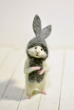 Mouse and Easter basket Mouse bunny Mouse rabbit Easter Gift Bunny Gift mouse Easter Basket Gift Bas Easter Gift Baskets, Basket Gift, Needle Felted Animals, Felt Animals, Grey Bunny, Felt Gifts, Needle Felting Tutorials, Felt Mouse, Stuffed Animal Patterns