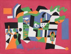 "Stuart Davis, ""Midi"", 1954, Oil on canvas, 28 x 36 3/16 inches, The Schnakenberg Fund, 1954.56. Wadsworth Atheneum."