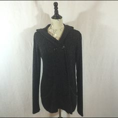 """Carol Rose Marled Double Breasted Cardigan w/ Hood Used in very good condition! Hardly ever worn! Has two front pockets. Very soft and comfortable yet nice enough to wear to the office or dress it down with a pair of jeans. Measures 30"""" from top of shoulder to hemline. Made from 100% acrylic. Carol Rose Sweaters Cardigans"""