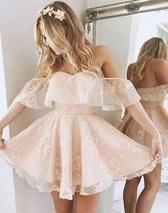 Blush pink off shoulder lace up special high quality short knee-length Prom Dresses Gown,cheap homecoming prom gown BD1705438
