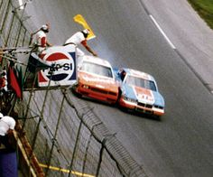 Richard Petty wins his record 200th victory at the Firecracker 400 in Daytona FL. (1984) Photo: Petty nips Cale Yarborough at the finish line for the victory. Back then rubbin' was racin' unlike the namby-pamby racing we watch these days.