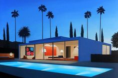 San Francisco based artist Tom McKinley paints modernist dream homes in Los Angeles. Villa Architecture, La Art, 10 Picture, Mid Century House, Retro Art, Contemporary Paintings, Contemporary Homes, Beautiful Paintings, Home Art