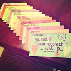 """Vanessa's version of """"Open When"""" letters Just got together a bunch of pictures wrote cute little notes got a little crafty.. My Marine Loved it so much it brought him to tears!"""