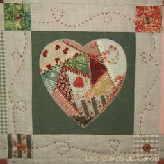 This gives it a crazy quilt effect. Scrappy Quilt Patterns, Applique Patterns, Quilt Blocks, 24 Blocks, Quilting Projects, Quilting Designs, Sewing Projects, Quilting Templates, Small Quilts