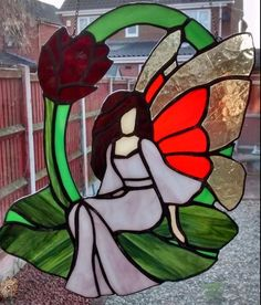 Beautiful Stained Glass Fairy Suncatcher by Bella Vitra Stained Glass. Just add sunlight. by BellaVitraGlass on Etsy