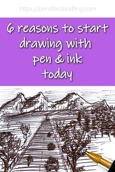 I love drawing in ink - I can do it anywhere, using any pen or paper that I have to hand.  Read my six reasons you should pick up a pen and get drawing with pen and ink today! :) Ink Pen Drawings, Love Drawings, Cross Hatching, I Can Do It, Reading, Paper, Pens, Reading Books, Pen Drawings