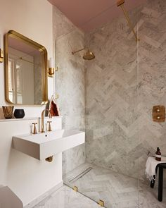 Perfect bathroom inspo from where our Carrara Marble has been laid herringbone. With brass fittings and a pink painted ceiling too, absolutely love that idea 🙌🏻🙌🏻 📷 Black Marble Bathroom, Carrara Marble Bathroom, Marble Bathroom Accessories, Small Bathroom Colors, Stone Bathroom, Marble Herringbone Tile, Marble Showers, Bathroom Showers, Marble Wallpaper Phone