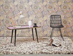 Summer #InteriorDecoration Trend 2014: Rainbow Romance! One Color Palette, Two Interior Design Styles: Graphical or Romantic Living – Raval #Wallpaper #Eijffinger, Berber Karpet #MarcJanssen! #PerscentrumWonen