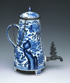 JP: Coffee pot, Edo Period (1615–1868), 1650–75  Japan  Porcelain with underglaze blue and mounted with silver (Hizen ware, Arita type)