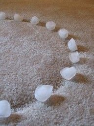 remove carpet indentations with ice cubes