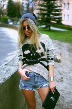 skull printed pullover sweater, 2013 fashion skeleton printed sweater, grey black skull sweater #skull #printed #pullover #Sweater www.loveitsomuch.com