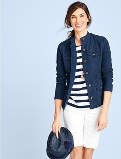 Ponte Knit Pintucked Tee-Grenada Stripes - Talbots - SB May 2017 Stylish Eve Outfits, Casual Work Outfits, Professional Outfits, Utility Jacket Outfit, Dress Design Patterns, Spring Summer Fashion, Fall Fashion, Nautical Fashion, Fashion Outfits