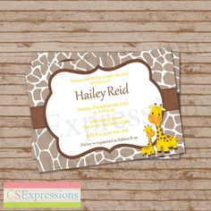 Mom and Baby Giraffe Baby Shower Invitation by CSExpressions