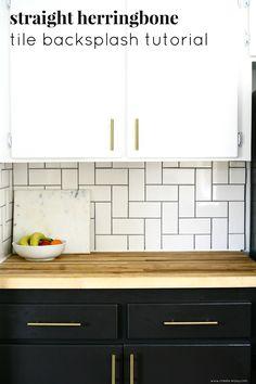 Straight herringbone tile backsplash tutorial / Create / Enjoy