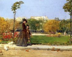 Frederick Childe Hassam (American 1859–1935) [Impressionism] In The Park, 1889. Oil on canvas, 12 3/4 by 16 3/8 inches.