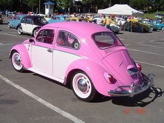 vw beetle pink two-tone
