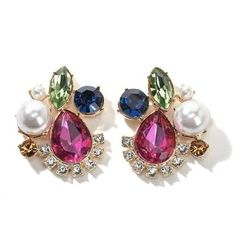 Universal Vault Multicolor Stone and Simulated Pearl Earrings