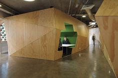 Plus Architecture fitout - triangulated plywood panels