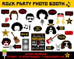 Rock Party Photo Booth Props–42 Pieces (31 props,10 Speech Bubbles,1 Photo Booth Sign)-Printable Rock Star Props-Instant Download                                                                                                                                                                                 Más
