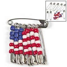 Beaded American Flag Pin Craft Kit Pack) - of July & Craft & Hobby Supplies Summer Fun For Kids, Summer Diy, Summer Crafts, Diy For Kids, Crafts For Kids, Arts And Crafts, Patriotic Crafts, Patriotic Party, July Crafts
