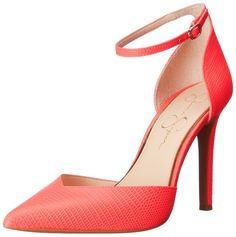 Jessica Simpson Women's Cirrus Dress Pump, Coral Reef, 7.5 M US. Two-piece dress pump featuring pointed toe and adjustable ankle strap with metallic oval buckle. Memory midsole.