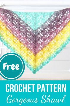 This FREE one skein crochet shawl or wrap pattern is perfect for summer. The beautiful floral stitch is easy and quick to work. The tutorial is in English and has step by step pictures. One Skein Crochet, Crochet Shawl Free, All Free Crochet, Crochet Scarves, Crotchet, Crochet Clothes, Crochet Stitches For Beginners, Crochet Stitches Patterns, Beginner Crochet