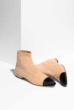 Short boots, suede goatskin & satin-beige & black - CHANEL